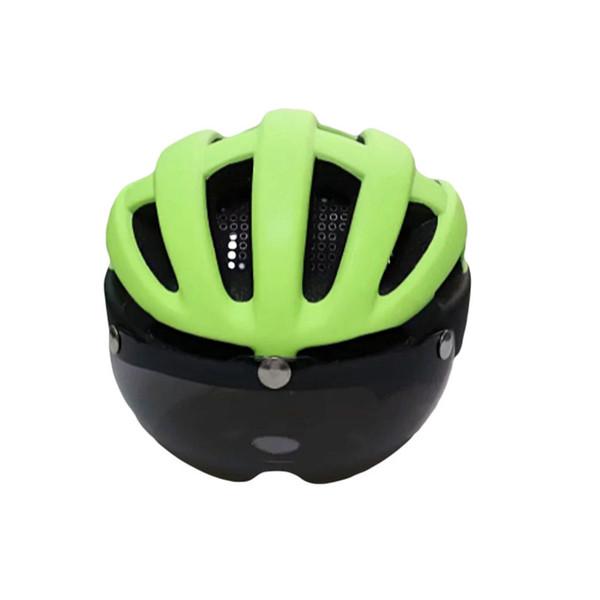 Casco da ciclismo per adulto da donna per uomo bici da bicicletta con copricapo di protezione della bicicletta dotato di occhiali magnetici e luce