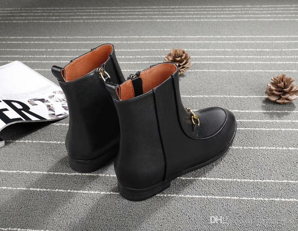 90c2f438bcc 2018 Luxury Brand Women Martin Boots Black Real Leather Cowhide Buckle  Chunky Heel 9.5cm Fashion Booties,Brand New 2cm Platform Short Boots Office  ...
