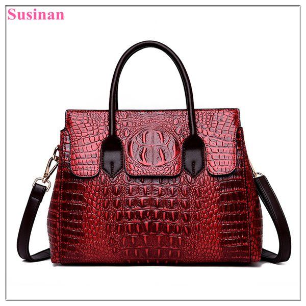 Luxury bags for women 2019 vintage Crocodile pattern leather handbag ladies messenger bag Female shoulder bag crossbody tote 5z