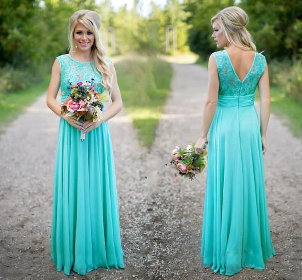Turquoise Bridesmaids Dresses Sheer Jewel Neck Lace Top Chiffon Long  Country Bridesmaid Plus Size Wedding Guest Dresses DH260 Short Purple  Bridesmaid ...