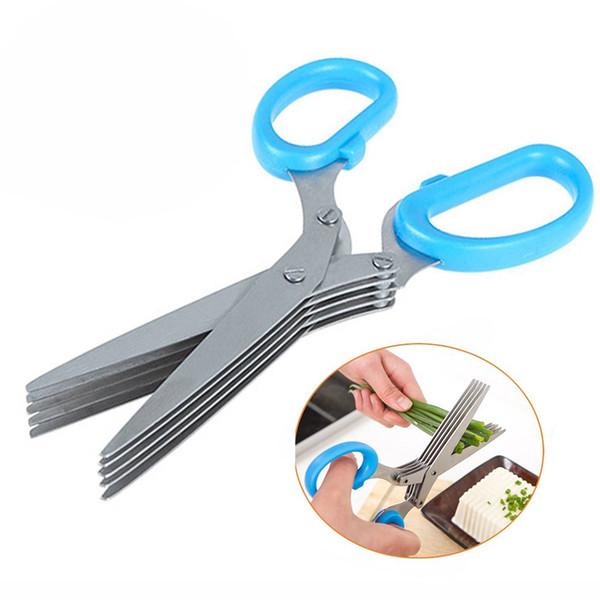 tainless Steel Kitchen Knives 5-Lagen-Schere Shredded Cut Herb Scissors Spices Scissors Küchenschere Shredded Cut Grass