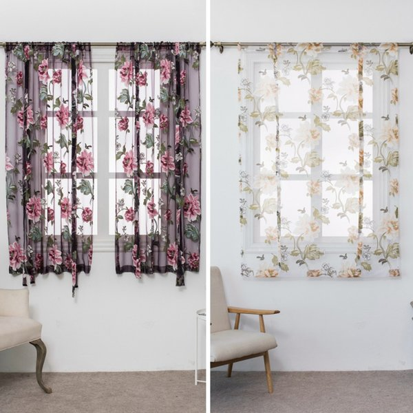 Butterfly Flower Type Roman Short Curtains Use For Living Room Kitchen  Burnt Out Flower Tulle Semi Shading Sheer Curtains Striped Curtains Gold ...