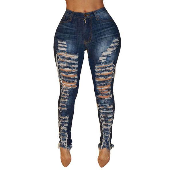 Women Jeans High Waisted Office Lady Hole Skinny Denim Jeans Stretch Slim Pants Calf Length Mujer Cintura Alta #T