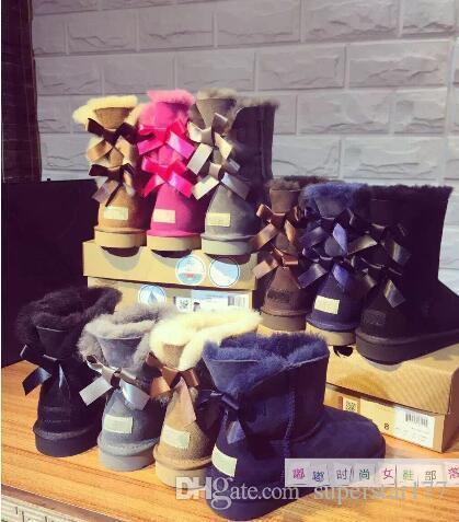 enfants adultes EU25-43 femmes nouvelles chaussures chaudes bottes de neige australien arc en cuir épais dans les bottes de neige de tube chaussures en coton