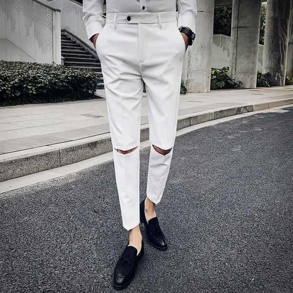2019 Gentlemen Casual Brand New Pants Men Fashion Hole Solid Suit Pant Dress Suit Pant Hot Sale Slim Fit Trousers Men Clothes