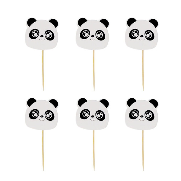 24pcs/lot Big Eyes Panda Animal theme Cake toppers birthday party decoration supplies baby shower girls and boys cupcake topper