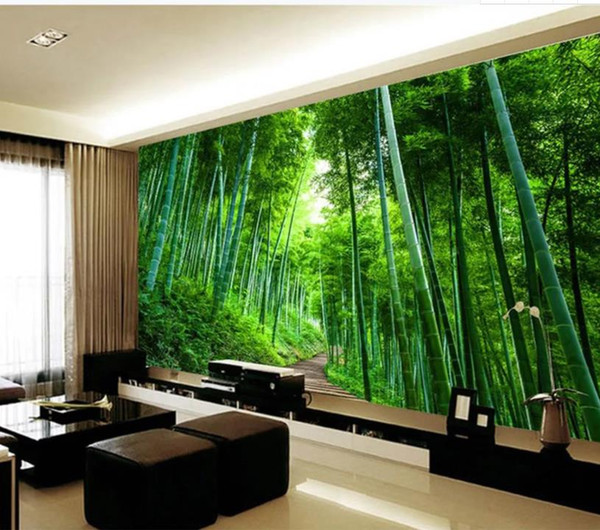 Large 3D bamboo forest board road expansion background wall modern living room wallpapers