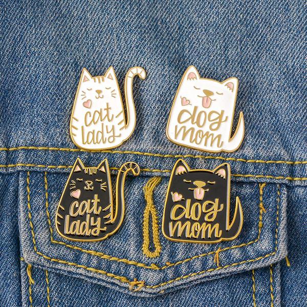 vintage punk style dog mom cat lady metal kawaii enamel pin badge buttons brooch shirt denim jacket bag decorative brooches for women men