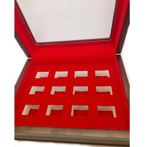 2019 neue Champion Ring Display Box 12 Loch rot Holz Display Box Hersteller schnelles Verschiffen