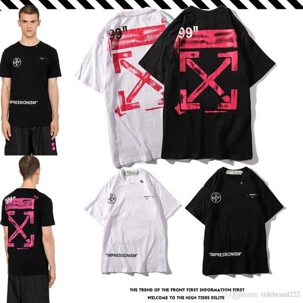 aus weißem Sommer neue heiße T-Shirt Rundhals beiläufige Baumwolle kurzärmlig platsch Tinte rosa Pfeil paar Modelle Kurzarm