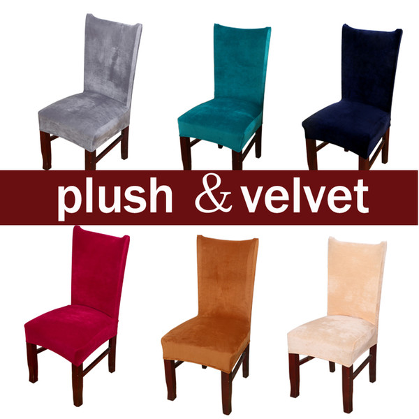 Awesome Plush Fabric Chair Covers Velvet For Dining Room Dust Proof Slipcovers Elastic Seat Cover Stretch Keep Warm Solid Color Gray Red Dining Chair Machost Co Dining Chair Design Ideas Machostcouk