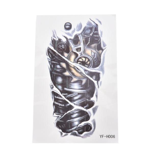 3D waterproof temporary tattoos for boy men mechanical arm design large tattoo sticker ing
