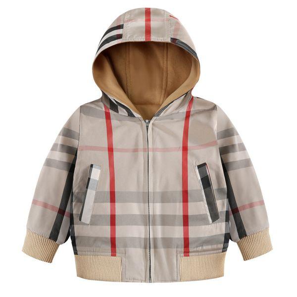 Ekose ceket 2019 Yeni Sonbahar Kış çocuklar tasarımcı uzun kollu ekose ceket kalın sıcak fermuar ceket kızlar yüksek kalite pamuk hoodie dış giyim