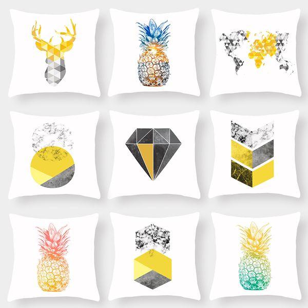 9 Styles Pineapple Deer Head World Map Cushion Covers Nordic Retro Geometric Diamonds Plaids Art Cushion Cover Soft White Pillow Case