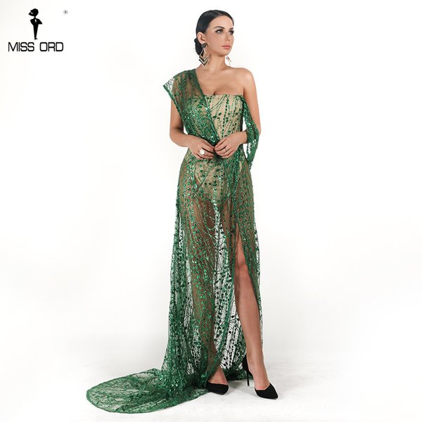 Missord 2019 Sexy Off Shoulder Irregular Neck Backless Dress Elegant See Through High Split Gliter Dress FT18674-1