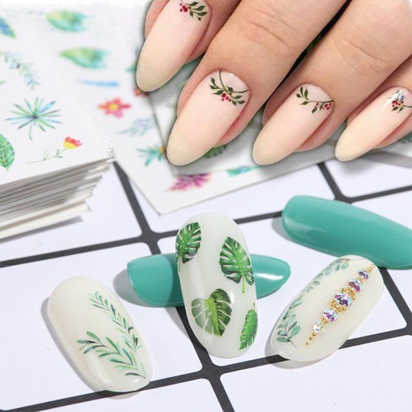 Water Stickers For Nails Manicure Nail Art Tropical Leaf Flowers Sliders EYE Designs Decoration Summer Fresh LESTZ816-844