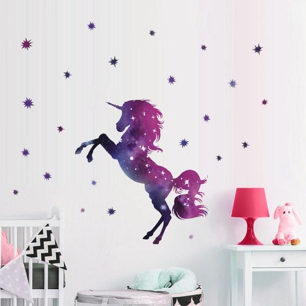 Wholesale 45*27cm Fancy Unicorn Wallpaper Animal Cartoon Star Diy Kids Bedroom Decorations Kindergarten Nursery Home Decor Wall Stickers