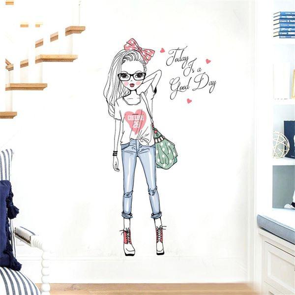 Mignon DIY Belle Fille Art Stickers Muraux Pour Chambres d'enfants PVC Stickers Muraux Décor À La Maison Fille De Mode peint à La Main Papier Peint décoration