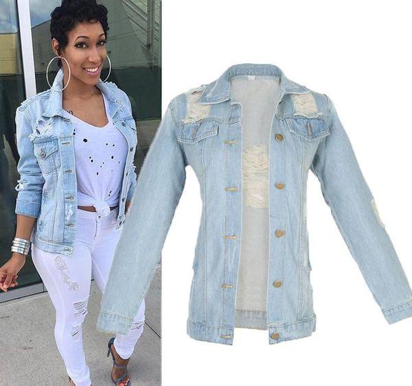 Wholesale- Women jackets 2016 Womens Denim Jacket Outwear Jeans Coat Classical Fashion Causal Jeans Coats Jacket Size M-5Xl