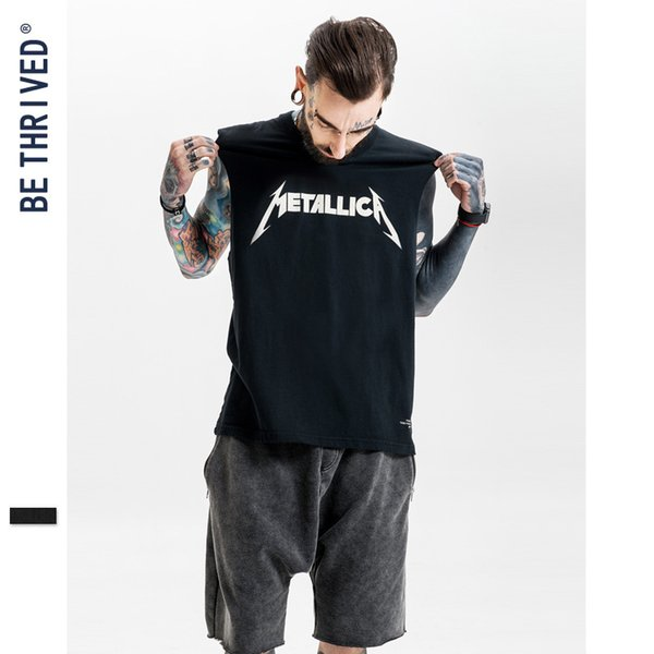 Men's clothing | 2019 Summer High Street Heavy Metal Rock in Europe and the United States loose make old vest printed T-shirt custom