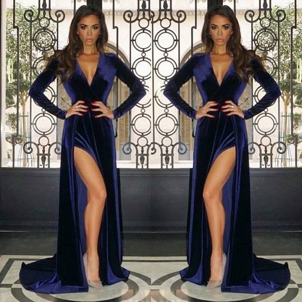 Vintage Long Sleeves Evening Dresses Split Sheath V Neck Maternity Dress Baby Shower Party Gowns Pregnant Prom Dresses Sexy 2019 New