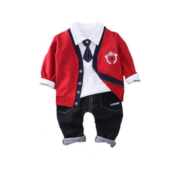 Pamuk erkek bebek giysileri yenidoğan kıyafetler erkek takım elbise erkek giysi tasarımcısı erkek giyim setleri hırka + gömlek + pantolon erkek giysileri A6931
