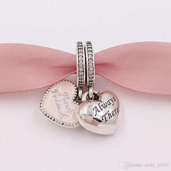 Otantik 925 Gümüş Boncuk İyi Arkadaş Charm Pembe Charms Avrupa Pandora Stil Takı Bilezikler Kolye 791950CZ uyar