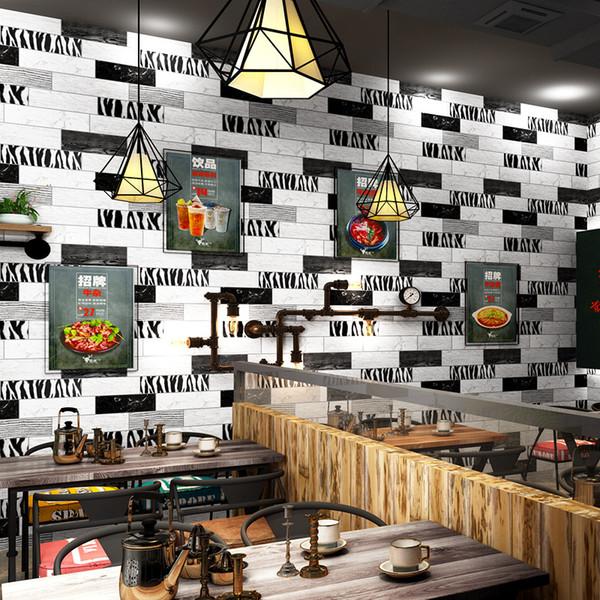3D Black and white coffee distinctive graffiti brick wallpaper modern zebra brick pattern wallpaper waterproof stylish household store decor