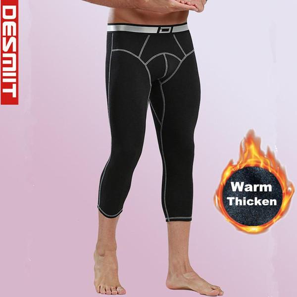 Winter 3/4 Leggings Running Tights Men Compression Pants Gym Sport Fitness Training Fleece Warm Wintersport Wear Johns Leggins