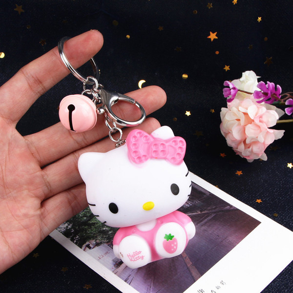 New Cartoon Cute Hello Kitty Doll KT Cat Keychains Women Girls Charm Bags Key Rings Accessories Pendant Car Key Chains Wholesale
