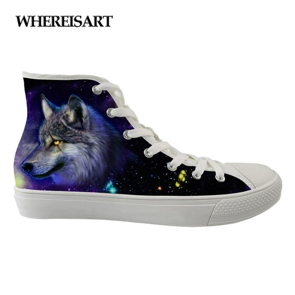 WHEREISART New Women Casual Canvas Shoes High Top Shoes Independent Design Cartoon Animals Style Female Breathable Custom