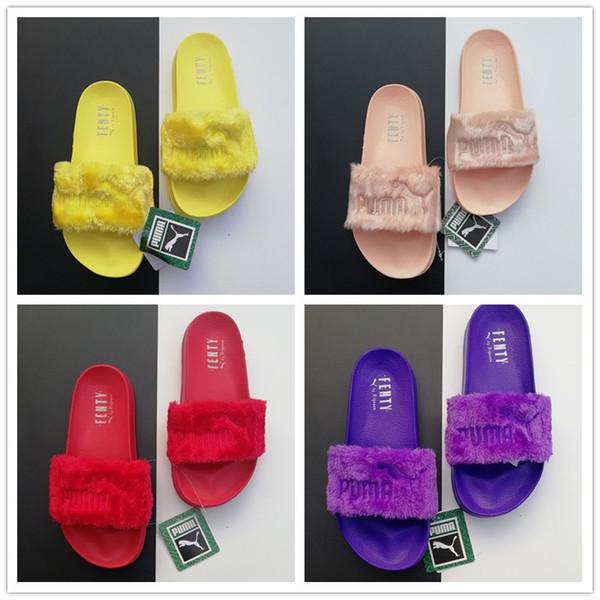 Piumini Fhan Rihanna Faux Pantofole Donna Sandali Fashion Girls Scusi Scivoli Sneakers Alta QualitàPuma Con Scatola a8