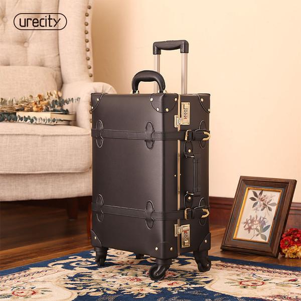 2018 valise pour maquillage designer bagages roue spinner fait main en cuir PU cuir geniune PU grande taille haute qualité de roulement