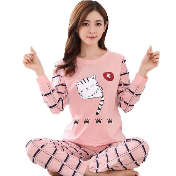Pigiama donna Set 2019 New Spring Summer Ladies Cute Sleepwear Abbigliamento da donna a maniche lunghe per la casa Set Autunno Inverno