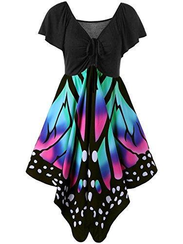 Zaful mulheres vintage sexy com decote em v bowknot borboleta padrão mangas curtas a linha swing dress