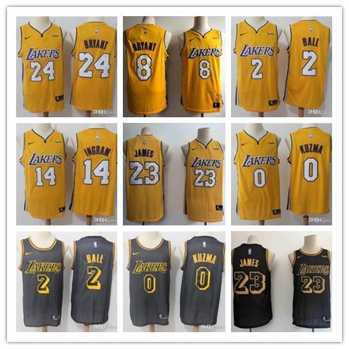 2019 23Los Angeles LeBron James Los AngelesLakers Jersey The City Kobe 24 Lonzo 2 Ball Kyle 0 Kuzma Brandon 14 Ingram basketball Jersey