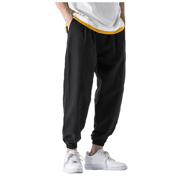 JAYCOSIN Erkek Günlük Moda Gevşek Saf Renk hip hop tarzı Pamuk Ve Keten Uzunluğu Pant açık egzersiz giyim 30 Ağustos