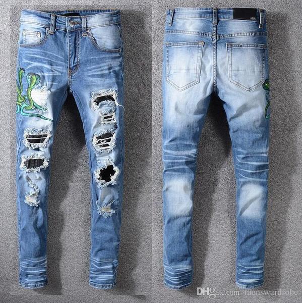 Nouveau jeans AMIRI marque jeans occasionnels trou trou shorts lavé vieux pantalon patch de haute qualité broderie denim pantalon pieds pantalons hommes marque pan