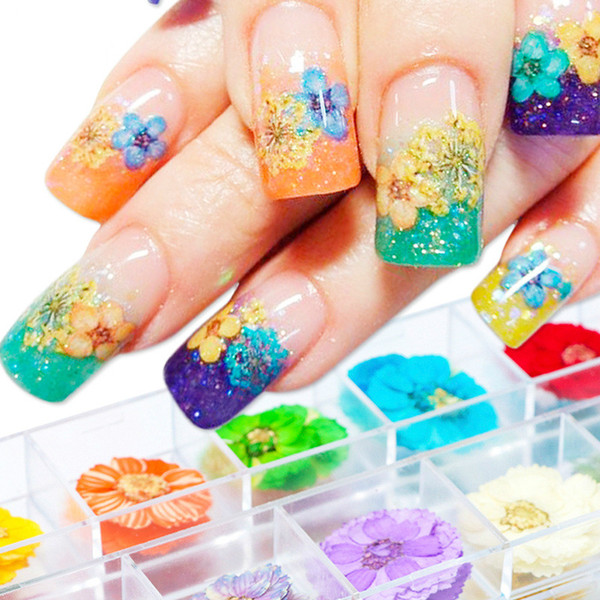 12pcs/Box Dry Flower Nail Decoration Mixed Natural Dried Flower Leaf Slide Nail Art Decal DIY 3D Nail Sticker Manicure Valentine Gift