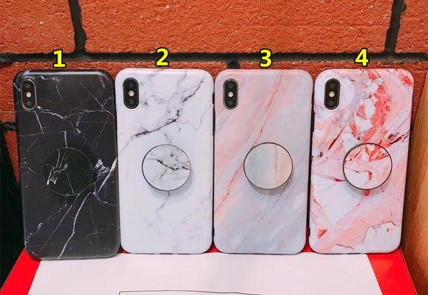 Mermer Tutucu Telefon Kılıfları Kickstand Esnek TPU Anti-şok Arka Kapak Koruyucu Apple iPhone için X Xs XR Xs max 7 7 p 8 8 p 6 s artı