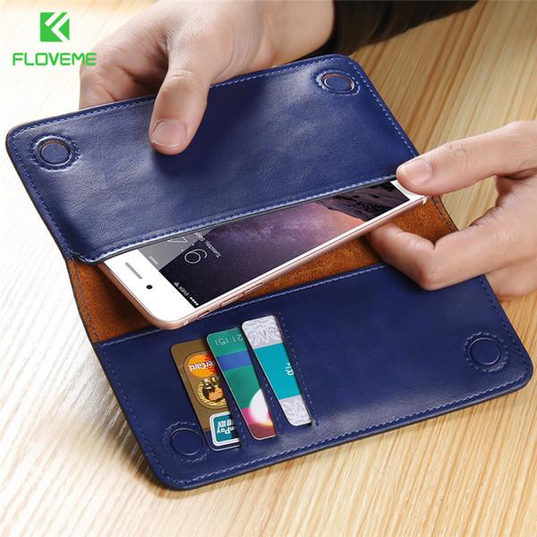 FLOVEME Luxus 5,5 '' Universal Echt Echtes Leder Geldbörse Tasche Für iPhone 7 Plus 6 6 s Plus 5 Samsung Galaxy S7 S6 Rand S5