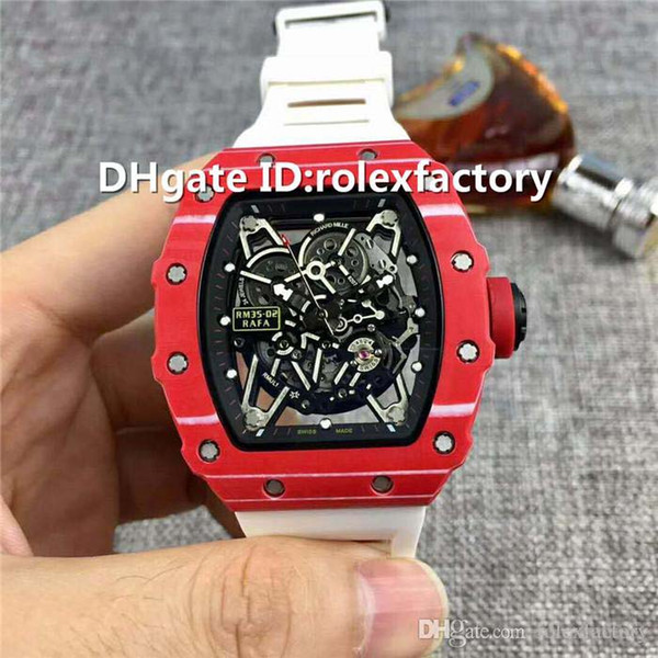 New Luxury 35-02 Watch Automatic Sapphire Crystal Carbon Fiber Case Red crown Skeleton Dial Rubber strap transparent case back Mens Watch