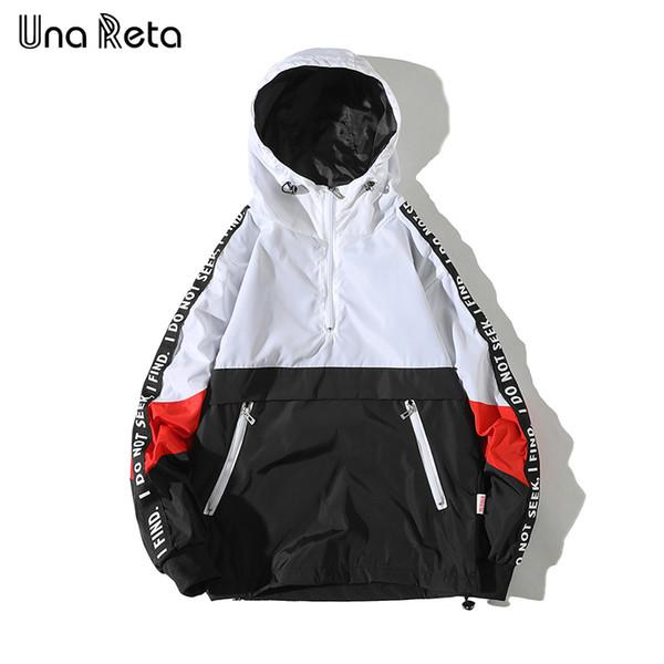 Una Reta куртки с капюшоном мужчины новый пэчворк цвет блока пуловеры куртка мода спортивный костюм пальто хип-хоп уличная куртка мужчины SH190628