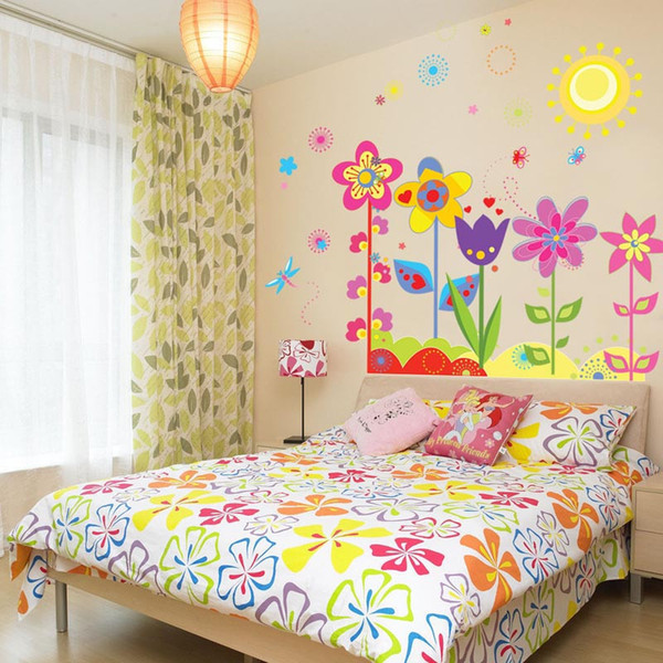 New Flower Butterfly Removable Vinyl Decal Art Mural Home Decor Kids Girls Bedroom Wall Stickers Home Room Decorations