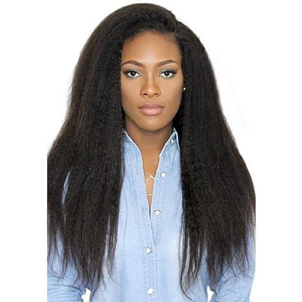 Hecho a mano en el pelo peluca llena del cordón del cabello humano brasileño para las mujeres con pre pelo del bebé pluacked frente del cordón peluca del yaki