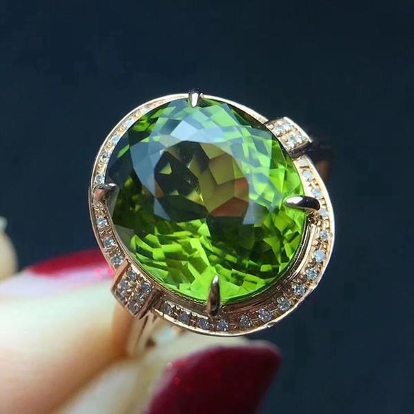 Fine Jewelry reale Oro rosa 18 carati AU750 100% verde naturale di tormalina pietre preziose 7.5ct anelli di diamanti femminile per le donne sottile anello
