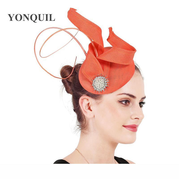 Cocktail mesh headpiece imitation sinamay fascinator hats women elegant accessories hair bands cocktail headwear nice fascinator free ship