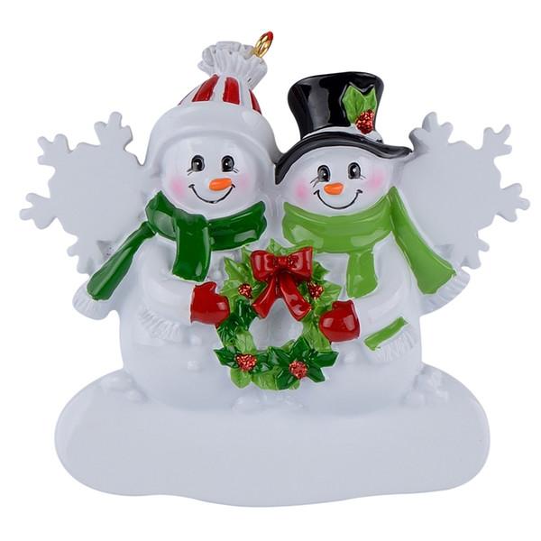 Schneemann Family Of 2 Weihnachtsschmuck zum Aufhängen aus Kunstharz, glänzend als Souvenir für personalisierte Geschenke oder Wohnaccessoires