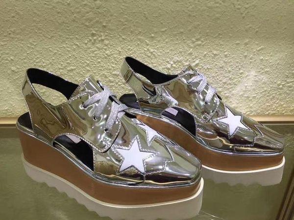 Stella Elyse Star Women Flat Shoes Espadrilles Rihanna Creepers Female Platform Oxfords Shoes Square Toe Wedges Shoes Original Box