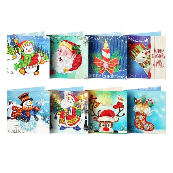 8pc 5d Diamant Peinture Cartes De Noël Diamant Broderie D'anniversaire Papier DIY Salut Cartes Postales Bande Dessinée Anniversaire Cadeau De Noël